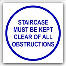 1 x Staircase Must Be Kept Clear of All Obstructions-87mm,Blue on White-Health and Safety Security Door Warning Sticker Sign-87mm,Blue on White-Health and Safety